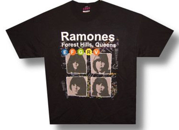 Ramones Subway Map Black  T-shirt