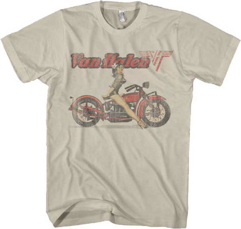 Van Halen Biker Pin up on Sand t-shirt