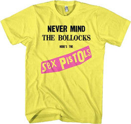 Sex Pistols Never Mind the Bollocks on Yellow t-shirt