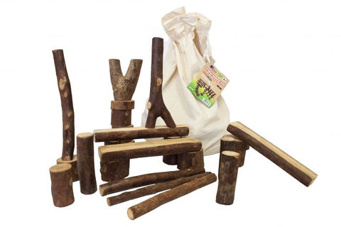 Q Toys Natural Barked Tree Blocks 42 pcs