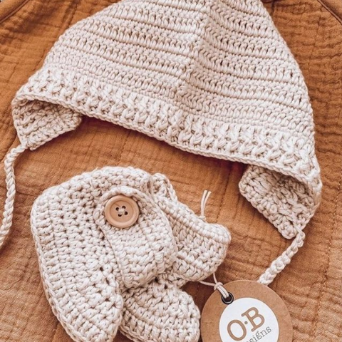 OB Designs Crochet Bonnet & Booties Set