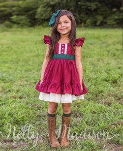 Burgundy Christmas Classic Alexandra Dress