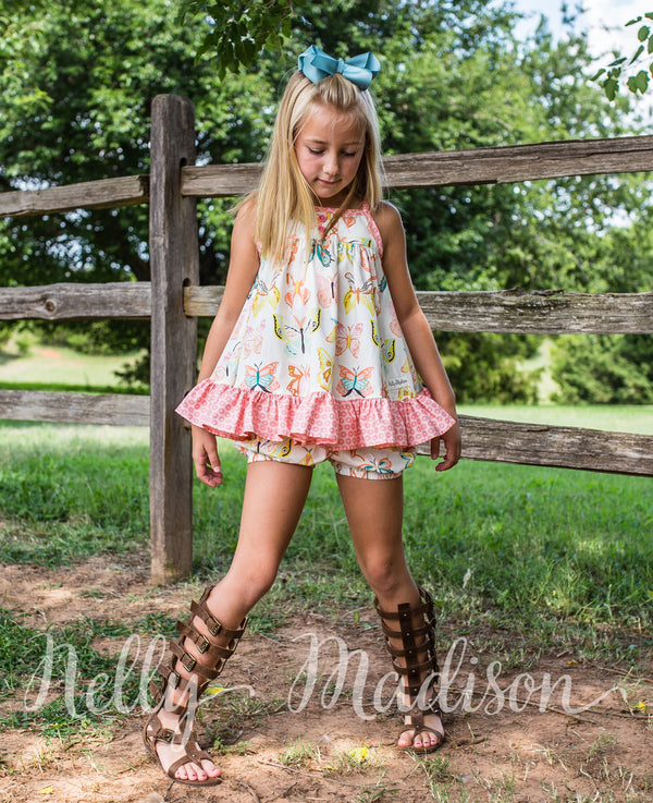 Pink Butterfly Tunic Set