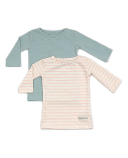 Vintage Blue & Pale Pink Stripe Britta Shirt Set