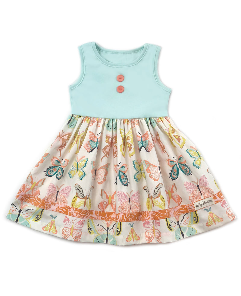 Minty Butterfly Maddie Dress