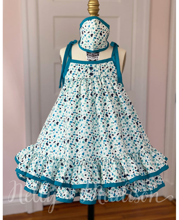 Teal Tea Leaves Hannah Dress + Mask Set