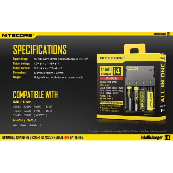 NiteCore 4 Bay Battery Charger V2