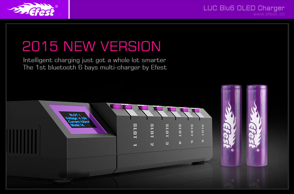 Efest- LUV Blue6 LCD Intelligent Charger with Bluetooth! 6- Bays!