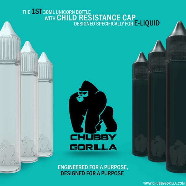 Chubby Gorilla Unicorn bottles! (Engineered for E-Liquid) Wide mouth Pour!