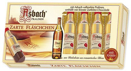 Asbach 8 Brandy Bottles in Window Box Dark Choc. 10/3.5oz # 2115