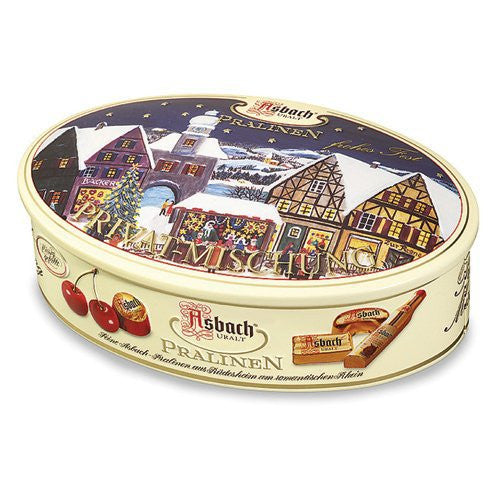 Asbach Christmas Tin filled with Assorted Pralines 6/6.4oz #2018