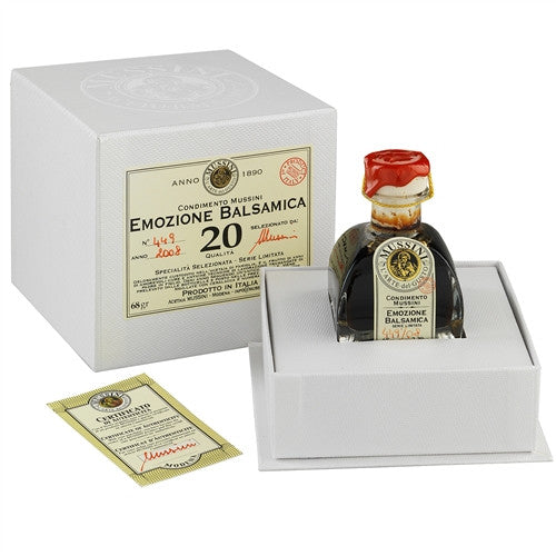 "ITALIAN MUSSINI ""EMOZIONE"" 20 YEAR BALSAMIC VINEGAR, 2.4OZ (71ML)"