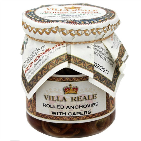ITALIAN VILLA REALE ROLLED ANCHOVIES WITH CAPERS, 6.35OZ (180GM), PACK OF 6