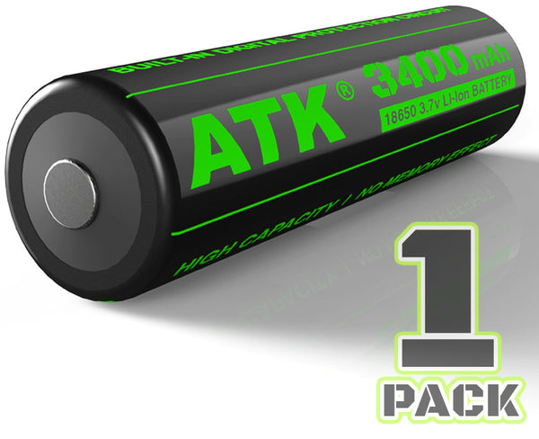 1pc | 18650 | 3.7V | 3400mAh | Hight Output | Protected | Lithium Rechargeable Battery