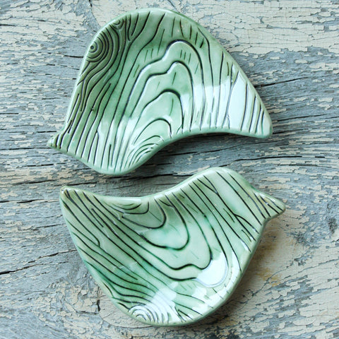 Bird Dishes - Wood Grain Faux Bois Imprint in Verdigris