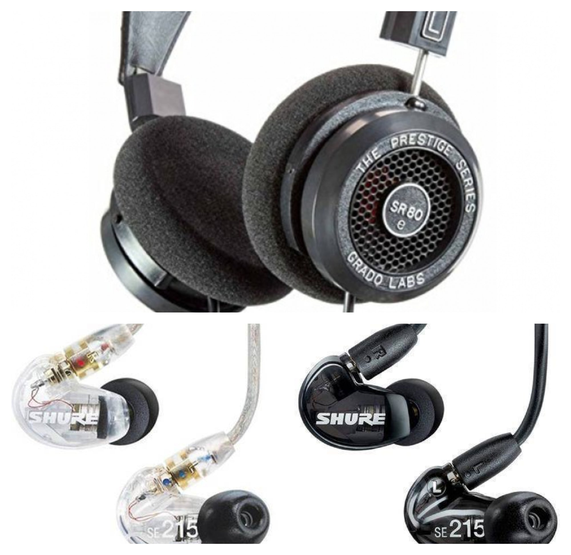 [Jaben Combo] Grado SR80e Prestige Series + Shure SE215 Universal (with Mic) Sound Isolating Earphones