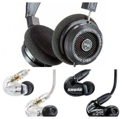 [COMBO] Grado SR80e Prestige Series + Shure SE215 Universal (with Mic) Sound Isolating Earphones
