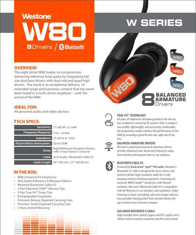 Westone W80 Gen 2 with Bluetooth V2 Cable Eight Balanced-Armature Drivers