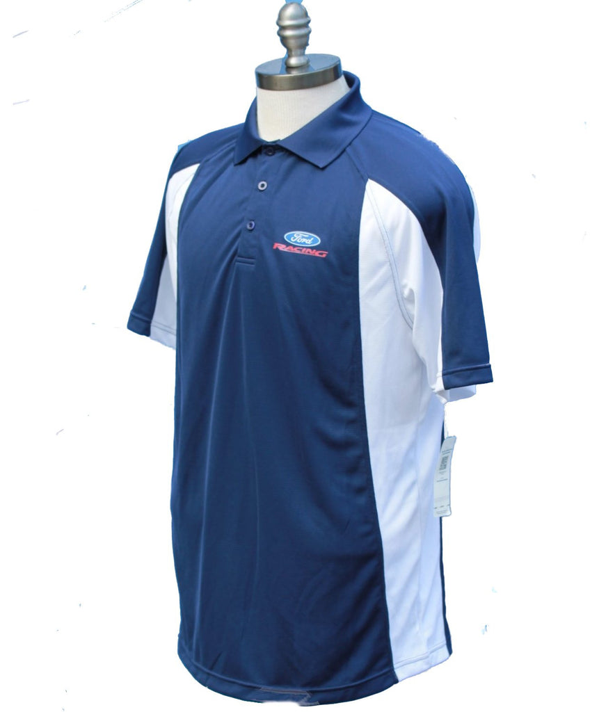 Ford racing moisture wicking polo in navy and white