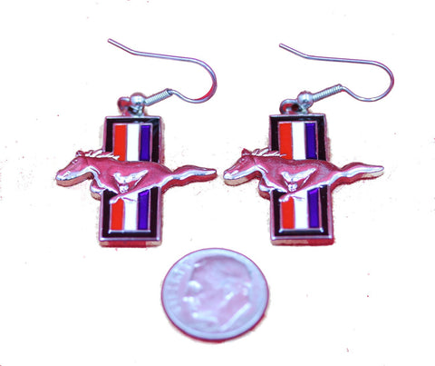 Ford Mustang tri bar earrings in red white and blue