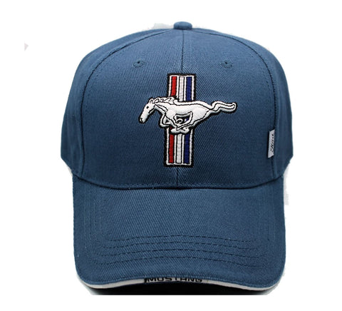 Ford Mustang tribar logo hat in blue