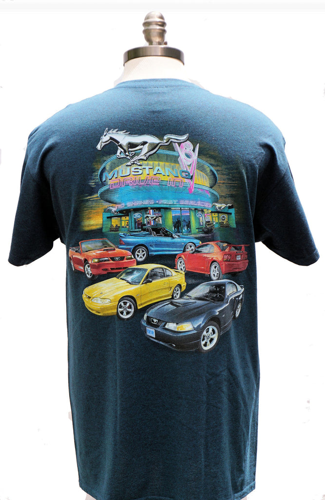Mustang 90's multi car two sided shirt