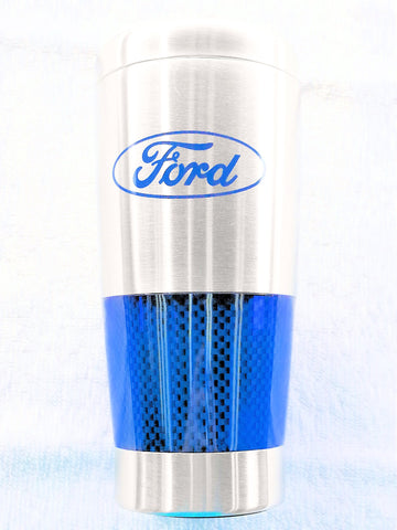 Ford carbon fibre travel mug in blue