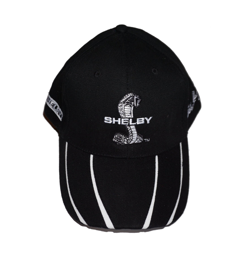 Shelby black hat with multiple white stripes on brim