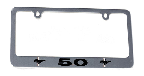 Ford Mustang 5.0 license plate frame in chrome
