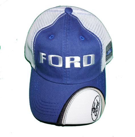 Ford Mesh Back  hat in blue and white with Built Ford Tough