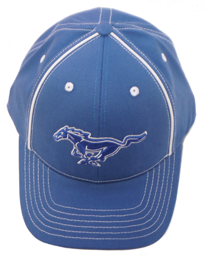 Ford Mustang royal blue hat with running horse logo