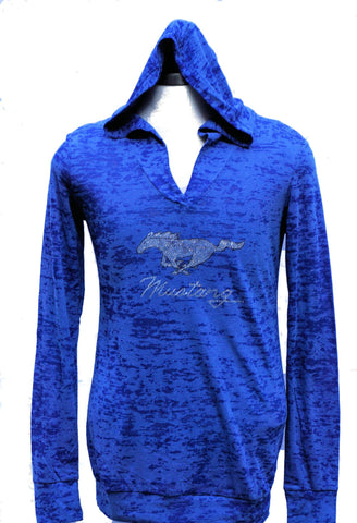 Ford Mustang ladies long sleeve burnout shirt with running horse logo in blue