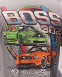 Boss 302 late model shirt with 2012 and 2013