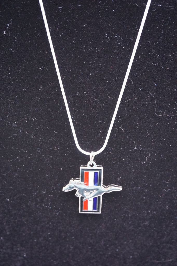 Ford Mustang silver necklace with tri bar charm
