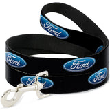 Ford dog leash in black with blue oval