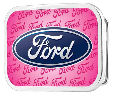 Ford belt buckle in pink