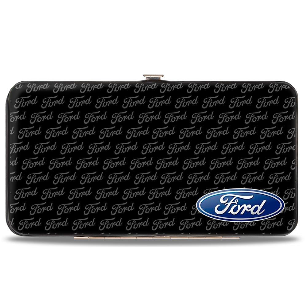 Ford ladies hinged clutch with Ford oval and text repeat