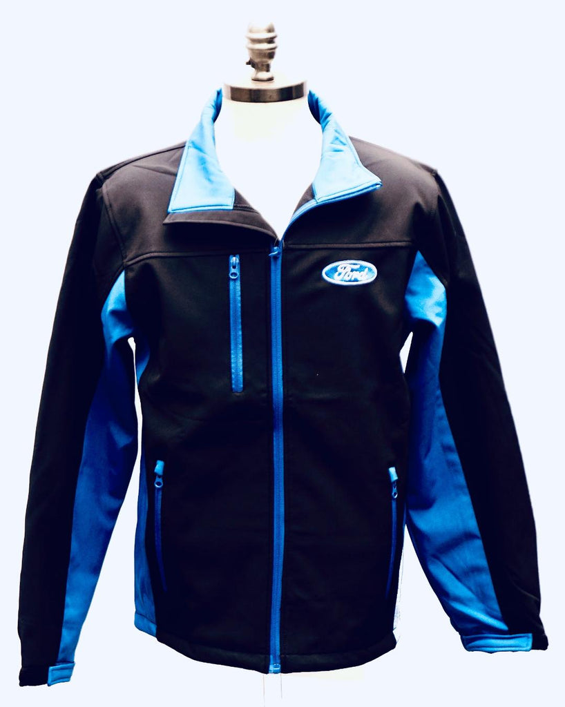 Ford black and blue soft shell mens' jacket
