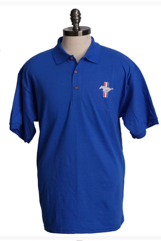 Ford Mustang royal blue polo shirt with tri bar logo