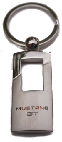 Ford Mustang Gt Rectangle Keychain Block Logo