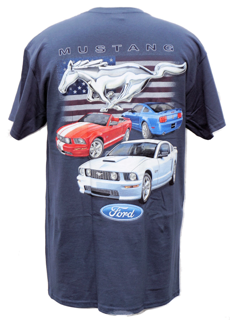 Ford Mustangs late model 3 car blue shirt