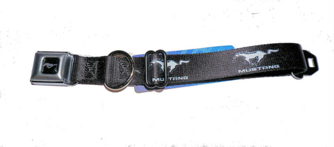 Ford mustang dog collar in black in 3 sizes