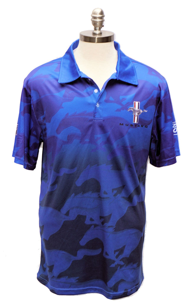 Ford Mustang sublimated 3-button polo shirt