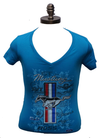 Ford mustang ladies multi logo shirt in turquoise