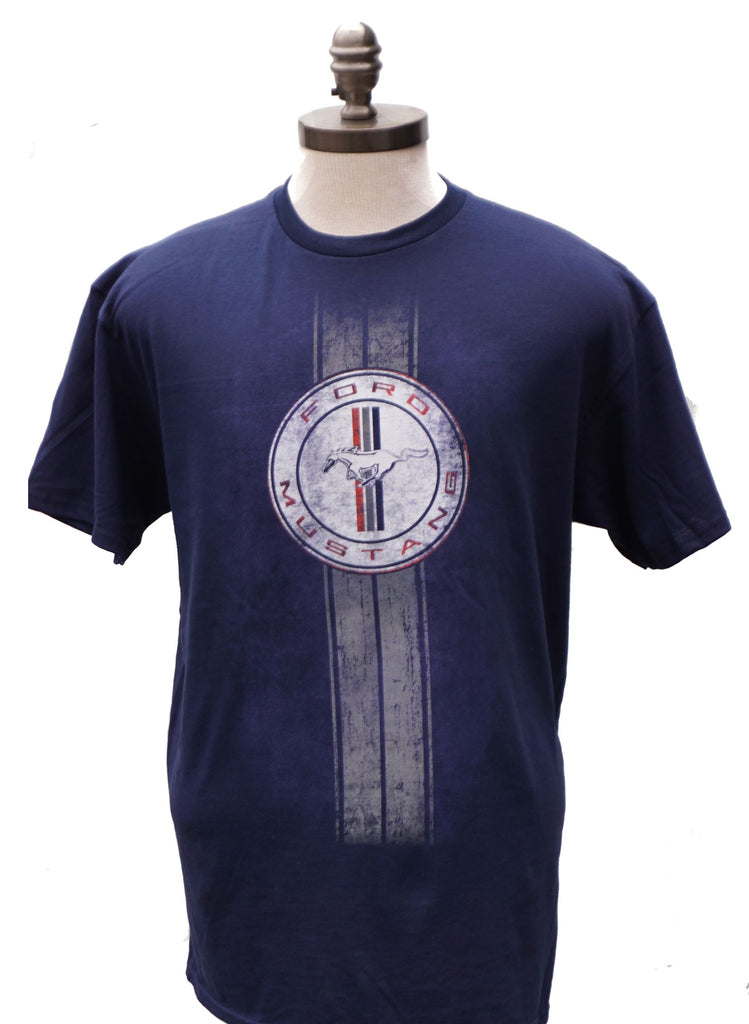 Ford Mustang distressed circle logo shirt in navy blue