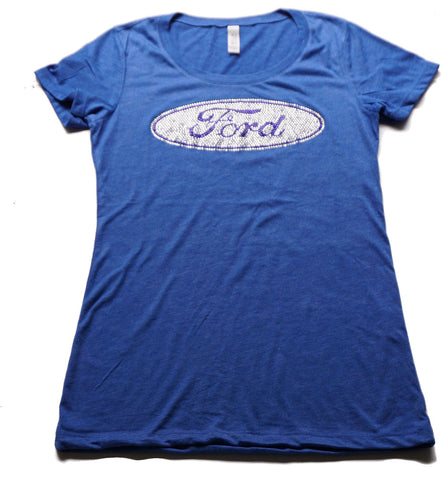 Lady's Ford rhinestone t shirt in denim blue