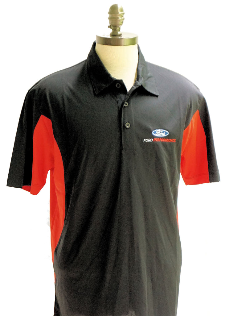 Ford performance moisture wicking polo in black with red trim