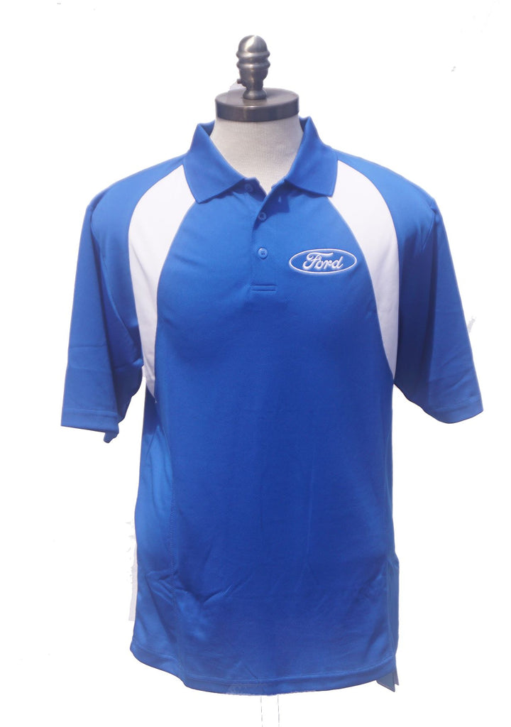 Ford moisture wicking polo shirt in royal blue and white