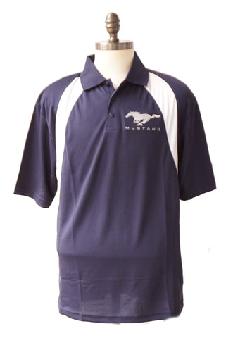 Mustang polo with running horse in navy with white trim