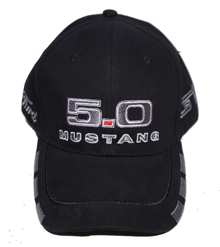 5.0 Mustang Hat black with grey trim